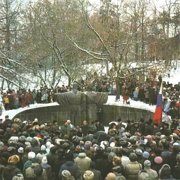 Открытие памятника основателям монастыря в Череповецком урочище св. Афанасию и св. Феодосию